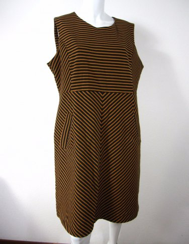 NEW Land'sEnd Sleeveless Dress Size 14 Jet Black Striped