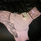 NEW WOMAN'S APOSTROHE BIKINI UNDERWEAR PINK LACE SEQUIN HIP 6