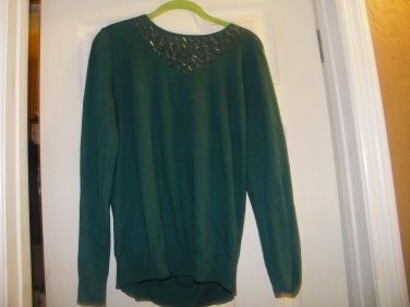 NEW ANN TAYLOR LOFT LIGHTWEIGHT  GLASS BEAD TRIM SWEATER GREEN L
