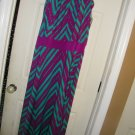 NEW METAPHOR CHEVRON TEAL MAGENTA MAXI SUNDRESS XL