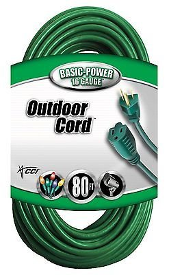 Coleman Cable 80' Foot 16 Gauge/3 Vinyl Landscape Outdoor Extension Cord
