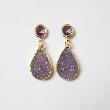 Purple Druzy Earrings, Teardrop Drusy, Amethyst Gold Post, Trendy, Modern, Bridal, Stone, Agate