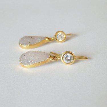 Gray Druzy Earring, Teardrop Grey Drusy, Modern Cubic Zirconia Ear Hook, 24K Gold Plated, Trendy