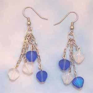 Blue and Opal Shell Earrings Handmade (JE58BE)