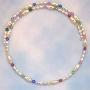 Multi-Colored Swarovski Crystal Silver Beads Choker Necklace (JE67E)