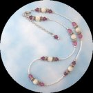 Rose Swarovski and Mother of Pearl Necklace Handmade (JE49E)