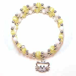 Girl's Yellow and White Memory Bracelet Handmade (JE111E)