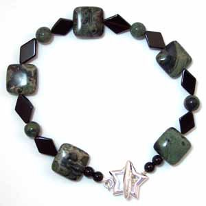 Kambaba Jasper and Black Onyx Bracelet Handmade (JE18E)