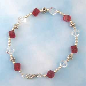 Red and Clear Cube Bracelet Handmade (JE57E)