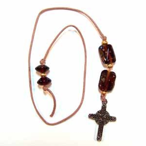 Brown Book Thong with Cross Charm Handmade (JE5E)