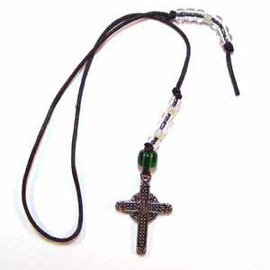 Black Book Thong with Cross Charm Handmade (JE8E)