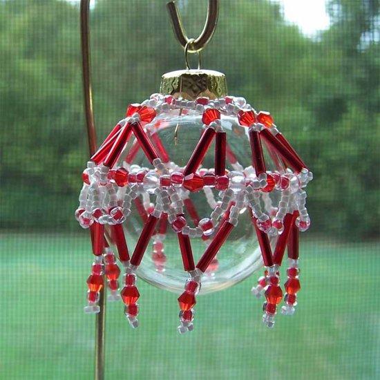 Red and White Beaded Ornament Cover Handmade (JE132E)