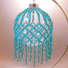 Turquoise and Gold Beaded Ornament Cover Handmade (JE191E)