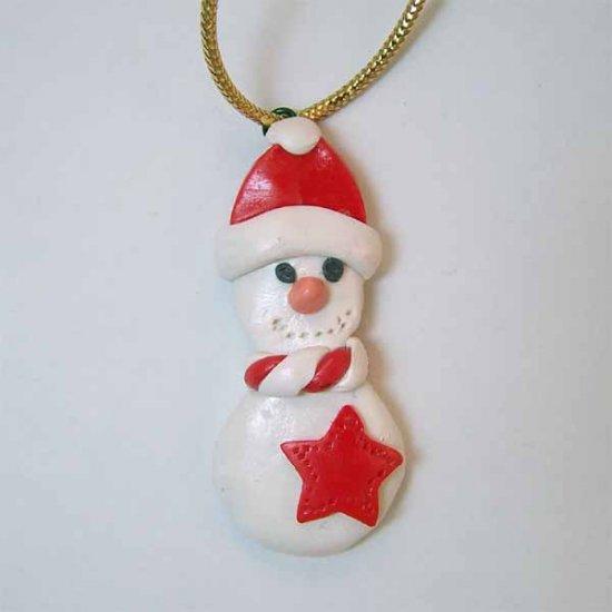 Snowman Christmas Ornament, Polymer Clay Handmade (PO209)