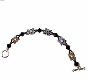 Black Swarovski Crystal and Butterfly Slider Bracelet Handmade (JE77E)