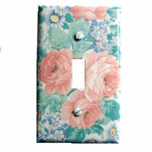 Pink and Blue Flowers Switch Plate Cover (LS163E)