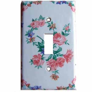 Pink Flowered Light Switch Plate Cover (LS171E)