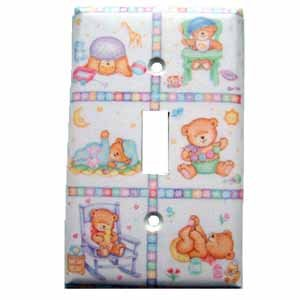 Bears Light Switch Plate Cover for Baby or Young Childs Room (LS181E)