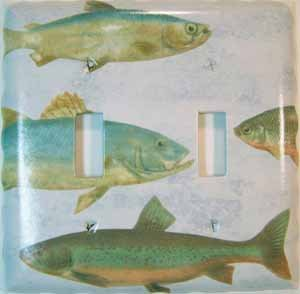 Fish Double Light Switch Plate Cover Handmade (LS174E)