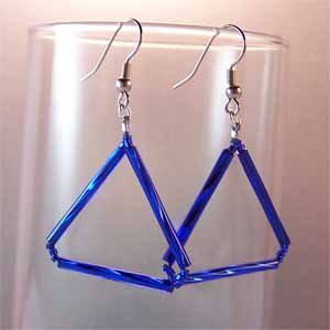 Handmade Blue Triangle Earrings Handmade (JE244)