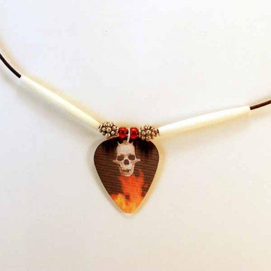 Flaming Skull Motion Guitar Pick Necklace (JE252)