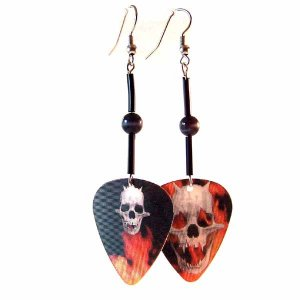 Flaming Skull Motion Guitar Pick Earrings Handmade (JE242)