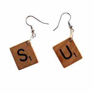 Scrabble Tile Earrings Letter S and U Handmade (JE322SU)