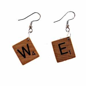 Scrabble Tile Earrings Letter W and E Handmade (JE322WE)
