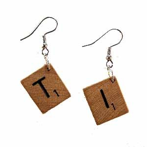 Scrabble Tile Earrings Letter T and I Handmade (JE322TI)