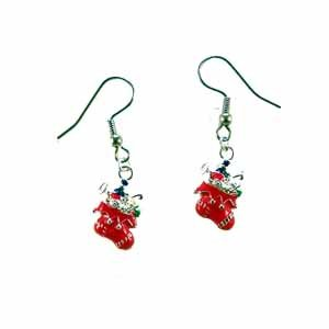 Christmas Stocking Earrings Handmade (JE335)