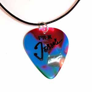 Multi-Colored Pick Jesus Guitar Pick Necklace - Handmade -(JE283)