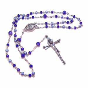 Blue Glass Bead Rosary - Handmade (JE274)