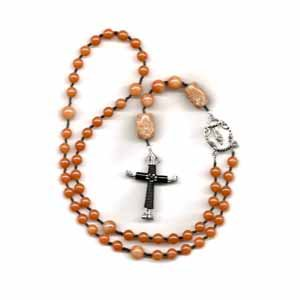 Red Aventurine Rosary with Horseshoe Nail Cross Pendant (JE275)