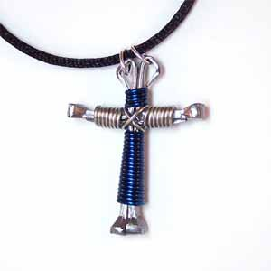 Silver and Blue Horseshoe Nail Cross Necklace (JE267)