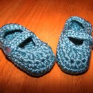 Green Baby Booties Mary Jane Style - Size 3-6 months Handmade (CR5)