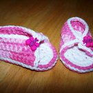 Pink Baby Sandals - Butterfly Buttons - Size 3-6 months Handmade (CR6)