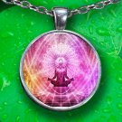 Meditation Pendant Necklace - Silver Plated - FREE Shipping!