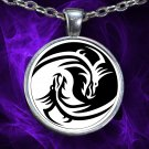 Ying-Yang Dragon - Pendant Necklace - Silver Plated - FREE Shipping!