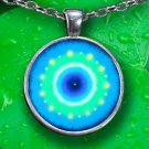 Blue Mandala Necklace - Silver Plated - FREE Shipping!