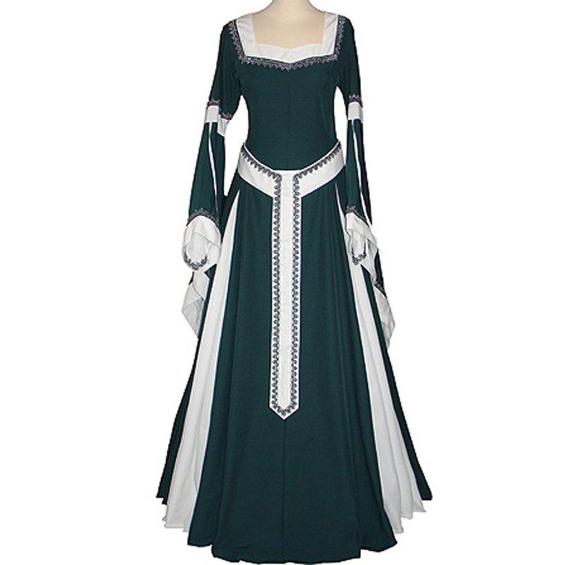 CosplayDiy Women's Dark Green&Ecru Medieval Renaissance Victorian Dress cosplay