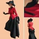 CosplayDiy Women's Civil War Dress Southern Belle Red & Black Medieval Dress