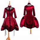 CosplayDiy Women's Red Medieval Renaissance Victorian Gothic Party Dress Cosplay
