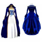 CosplayDiy Women's Blue&White Victorian Medieval Renaissance Dress Cosplay Costume