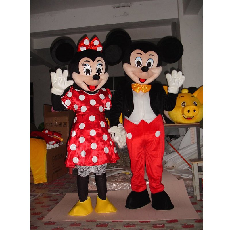 CosplayDiy Unisex Mascot Costume Mickey and Minnie Mouse Couple Mascot Costume Cosplay