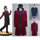 Cosplaydiy Adult Men's Costume Willy Wonka Charlie and Johnny Depp Cosplay For Party