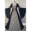CosplayDiy Women's Renaissance Medieval Wedding Dress Navy Blue Tapestry Halloween Cosplay Costume