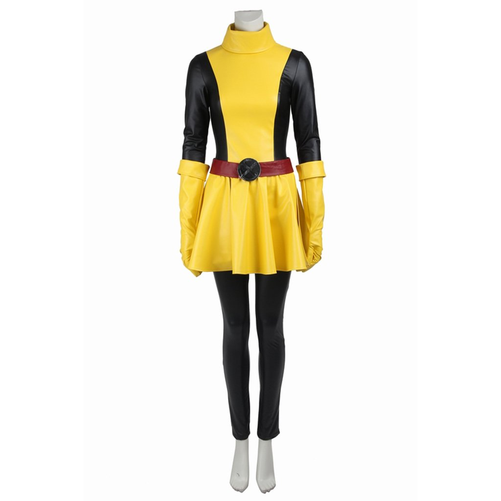 Cosplaydiy Women's Black&Yellow Dress X-Men Magik Cosplay Costume For  Party