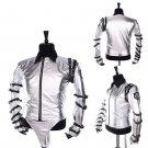 CosplayDiy Unisex Costume Famous Star Michael Jackson Sliver Jacket Coat Costume Halloween