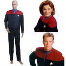 CosplayDiy Unisex Uniform Star Trek Voyager Captain Kathryn Janeway Costume Cosplay for Party