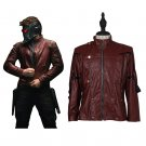 CosplayDiy Men's Jacket Guardians of the Galaxy Peter Quill Red Leather Jacket Costume Cosplay